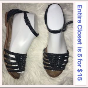Naughty Monkey Black Leather Strappy Sandals